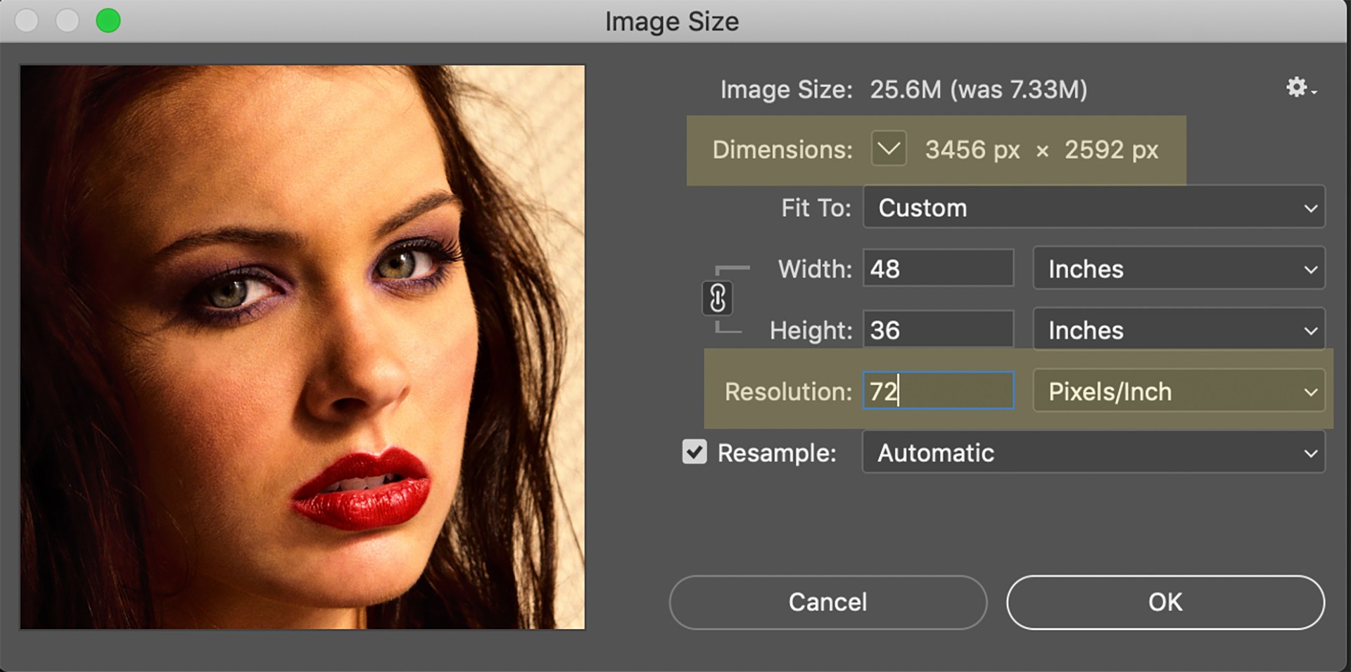 Postproduction Image Pixel Resolution
